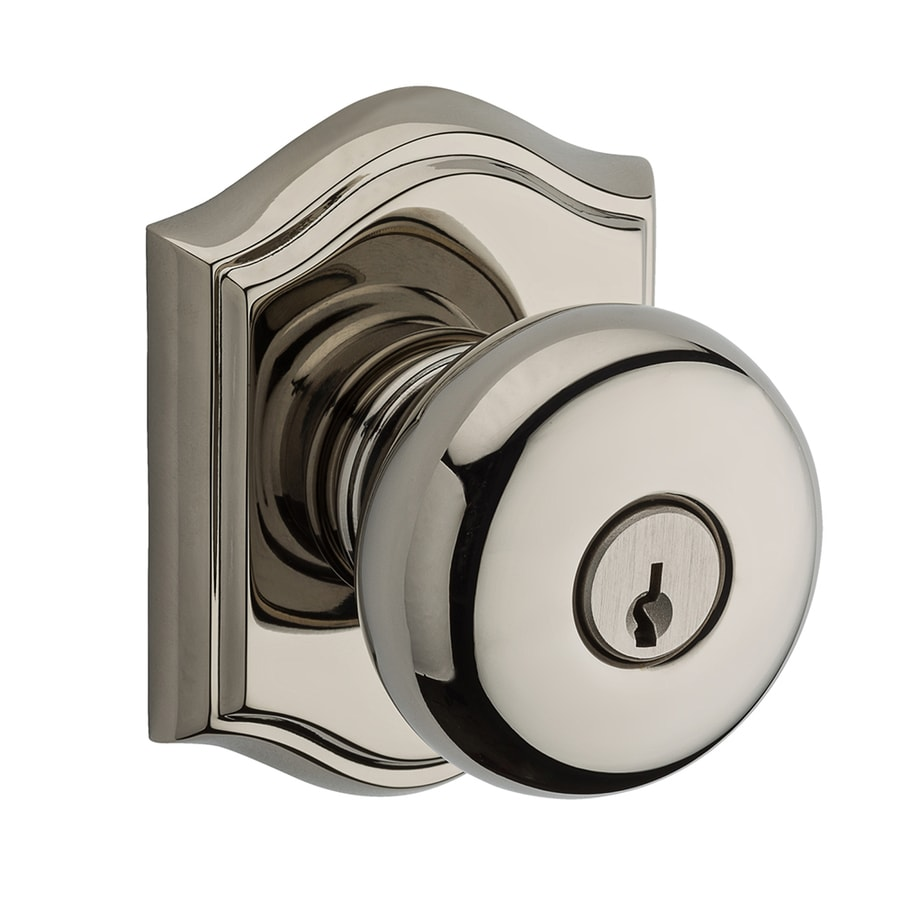BALDWIN Reserve Round Traditional Polished Nickel Round Keyed Entry Door Knob