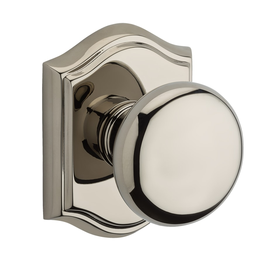 BALDWIN Reserve Polished Nickel Round Push-Button Lock Privacy Door Knob