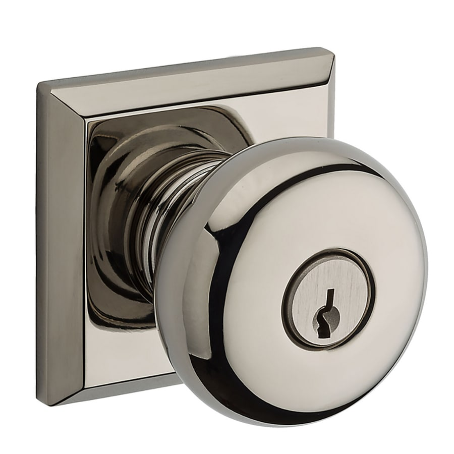 BALDWIN Reserve Round Polished Nickel Keyed Entry Door Knob and Single-Cylinder Deadbolt Project Pack