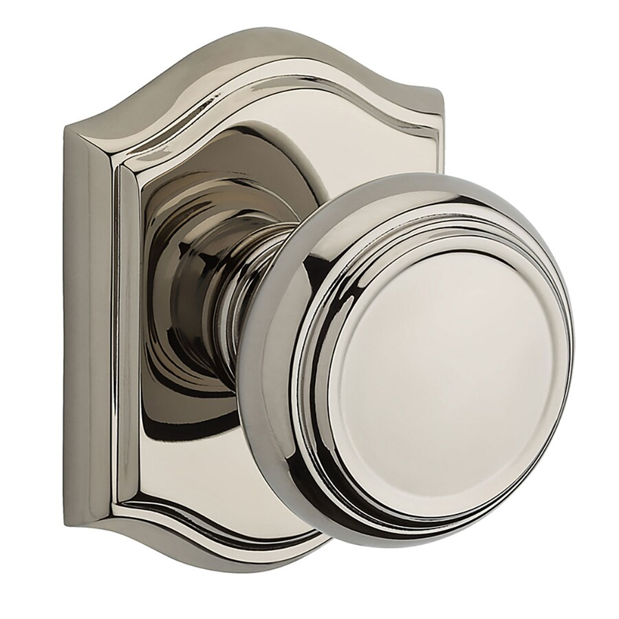 BALDWIN Reserve Traditional Polished Nickel Round Push-Button Lock Privacy Door Knob