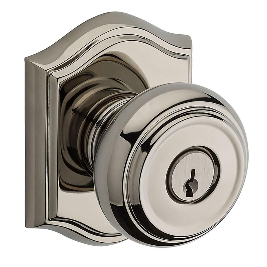 Shop BALDWIN Reserve Traditional Polished Nickel Round Keyed Entry Door Knob
