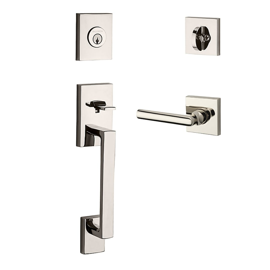 BALDWIN Reserve La Jolla Tube Lever Traditional Polished Nickel Single-Lock Keyed Entry Door Handleset