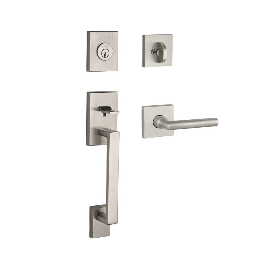 BALDWIN Reserve La Jolla Tube Lever Traditional Satin Nickel Single-Lock Keyed Entry Door Handleset