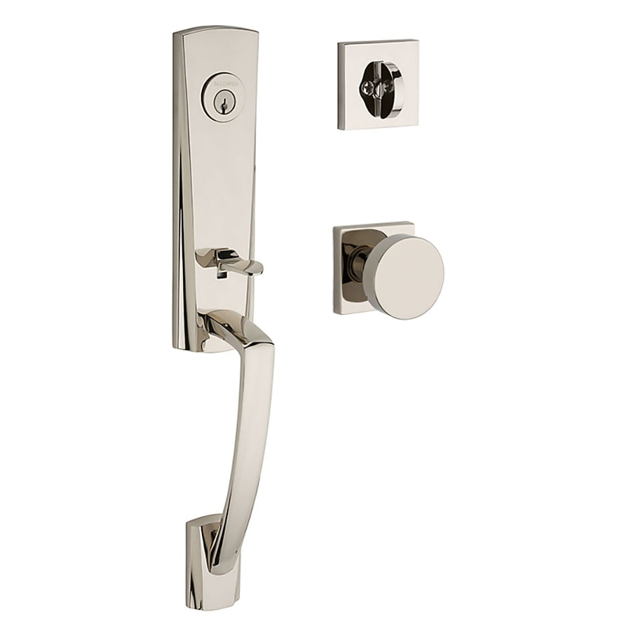 BALDWIN Reserve Miami Contemporary Knob Traditional Polished Nickel Single-Lock Keyed Entry Door Handleset