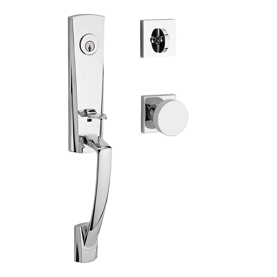 BALDWIN Reserve Miami Contemporary Knob Traditional Polished Chrome Single-Lock Keyed Entry Door Handleset