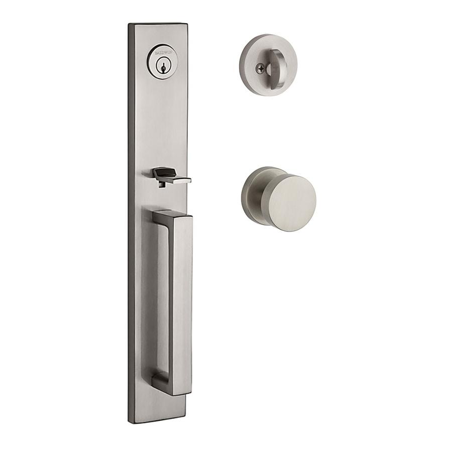 BALDWIN Reserve Santa Cruz Contemporary Knob Traditional Satin Nickel Single-Lock Keyed Entry Door Handleset