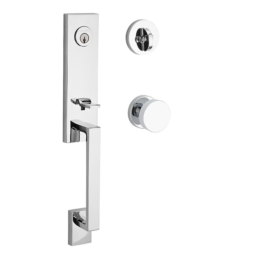 BALDWIN Reserve Seattle Contemporary Knob Traditional Polished Chrome Single-Lock Keyed Entry Door Handleset