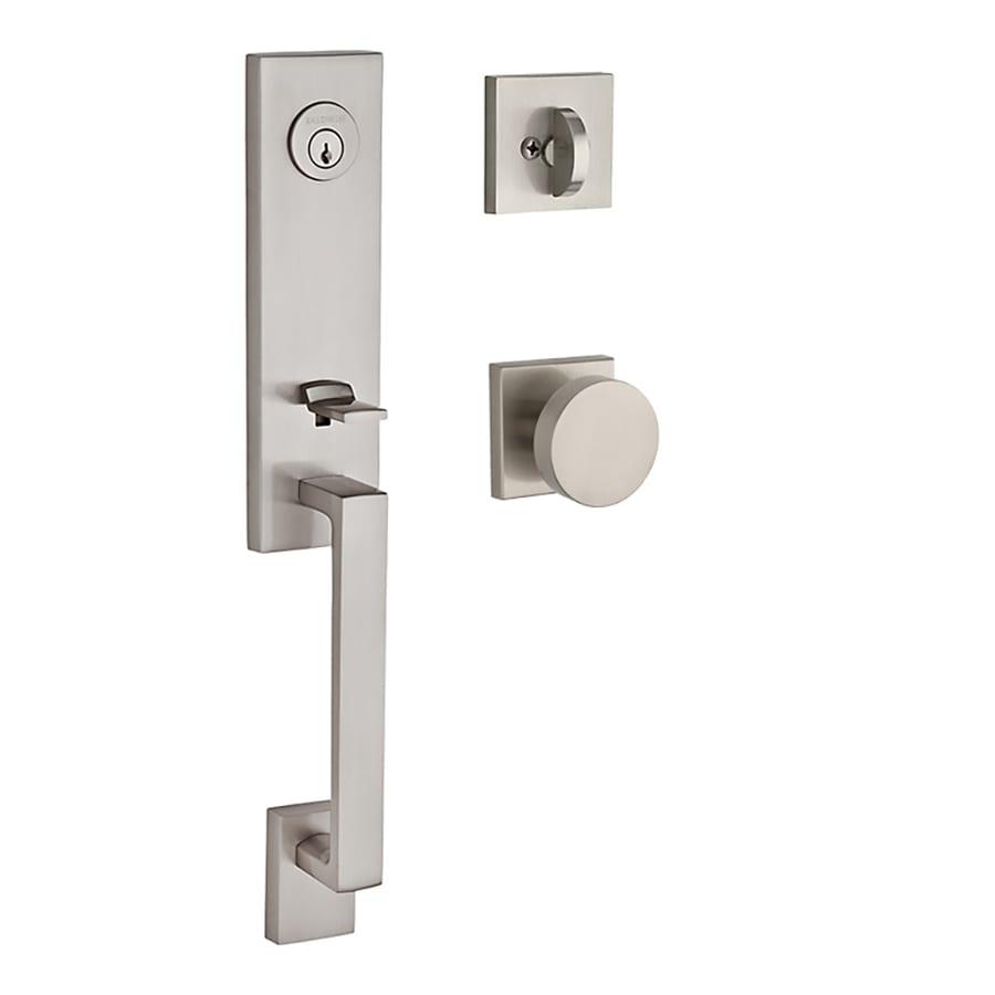 BALDWIN Reserve Seattle Contemporary Knob Traditional Satin Nickel Single-Lock Keyed Entry Door Handleset