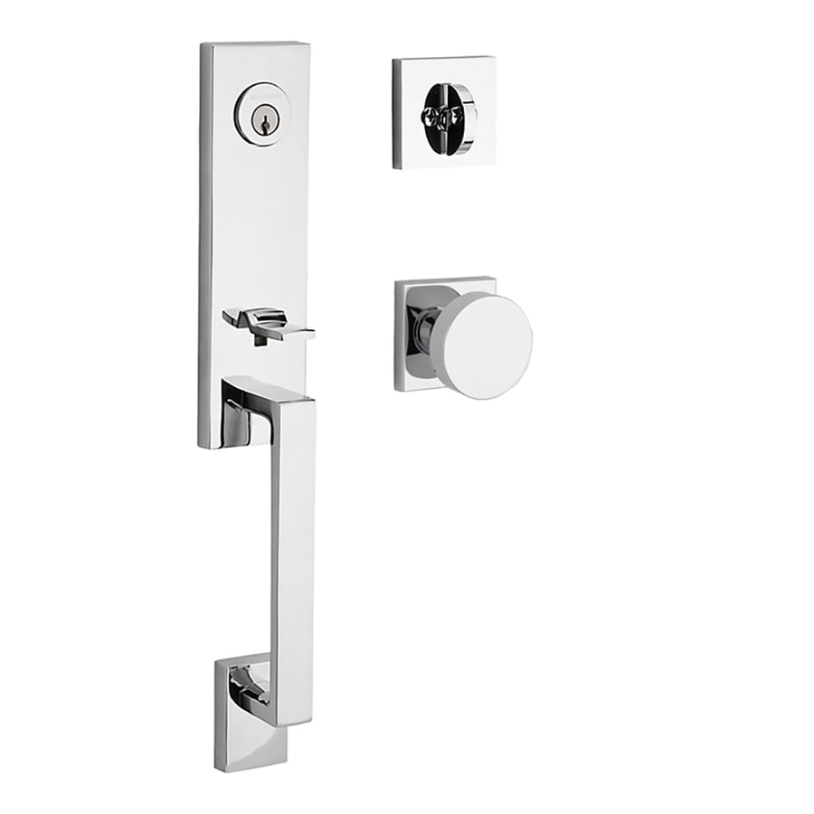 BALDWIN Reserve Seattle Contemporary Knob Traditional Polished Chrome Single-Lock Keyed Entry Door Handleset