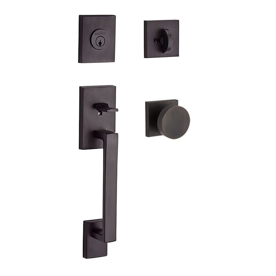 BALDWIN Reserve La Jolla Contemporary Knob Traditional Venetian Bronze Single-Lock Keyed Entry Door Handleset