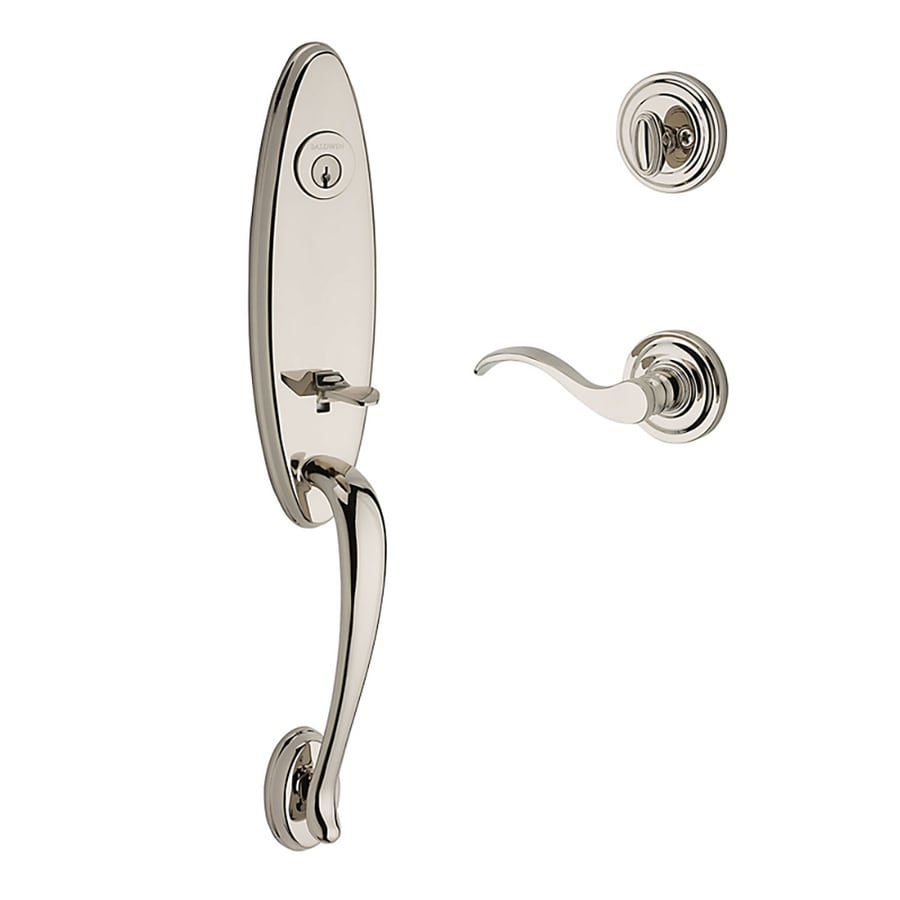 BALDWIN Reserve Chesapeake Curve Lever Traditional Polished Nickel Single-Lock Keyed Entry Door Handleset