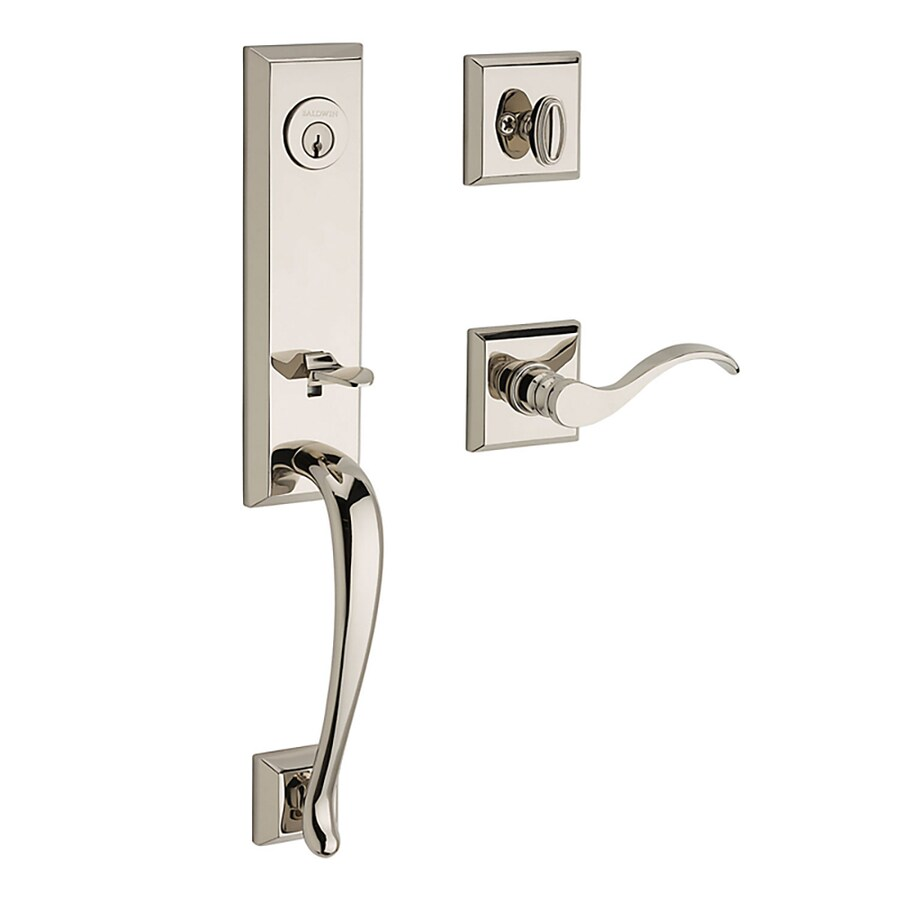 BALDWIN Reserve Del Mar Curve Lever Traditional Polished Nickel Single-Lock Keyed Entry Door Handleset