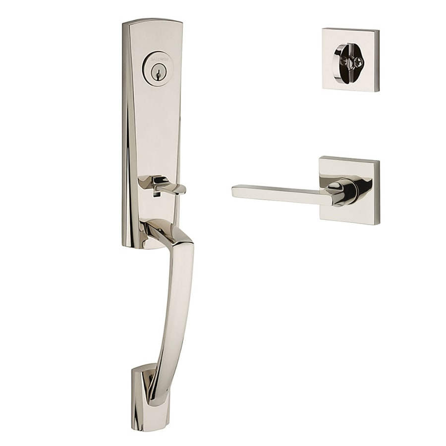 BALDWIN Reserve Miami Lever Traditional Polished Nickel Single-Lock Keyed Entry Door Handleset