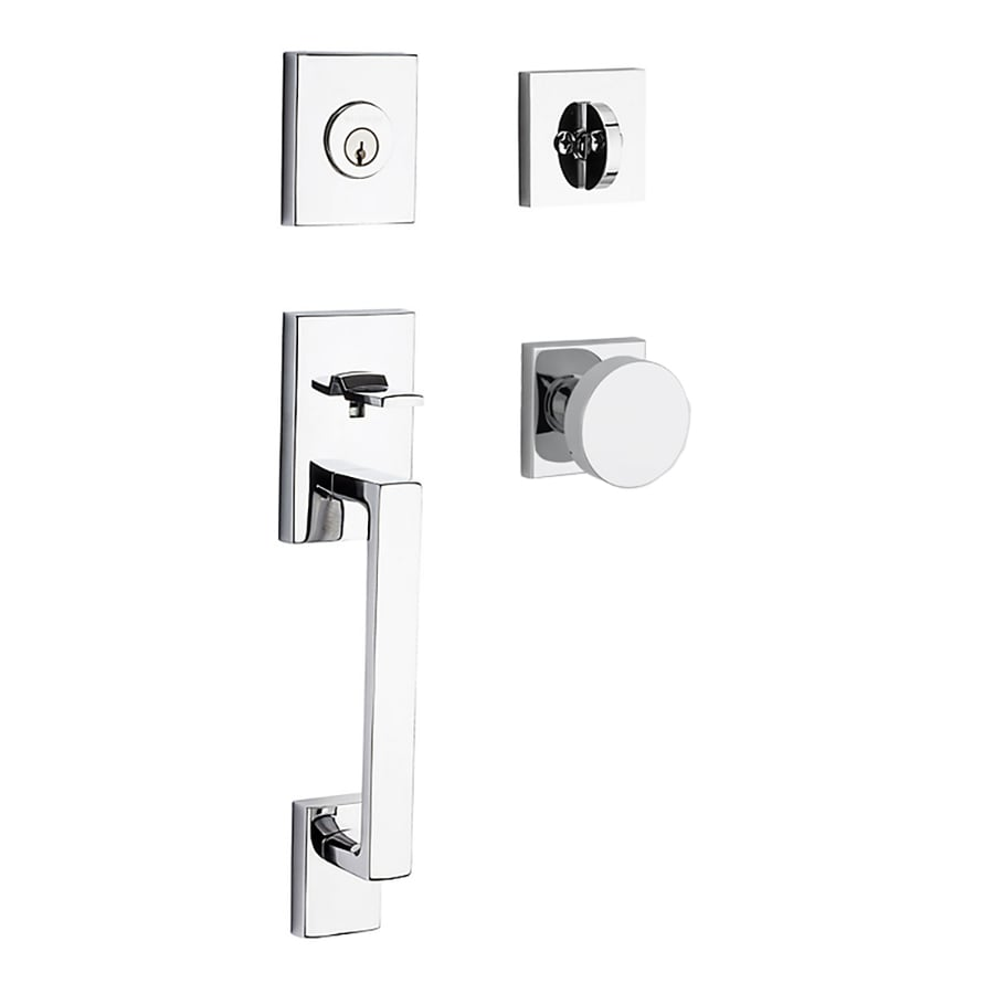 BALDWIN Reserve La Jolla Contemporary Knob Traditional Polished Chrome Single-Lock Keyed Entry Door Handleset