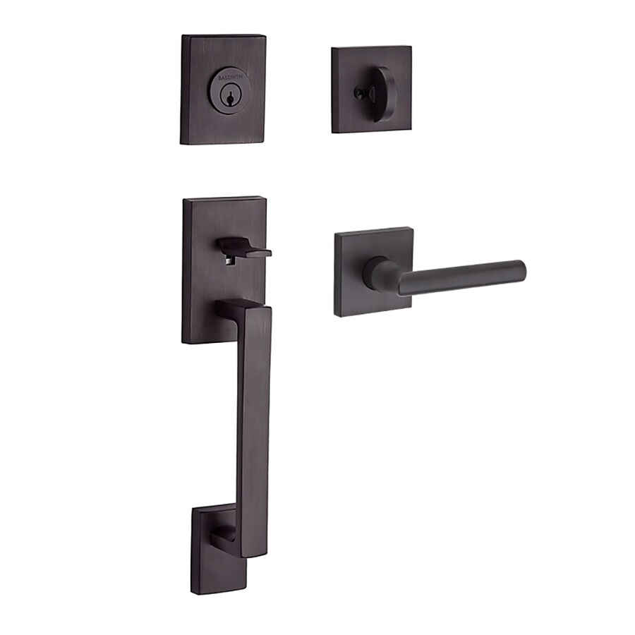 BALDWIN Reserve La Jolla Tube Lever Traditional Venetian Bronze Single-Lock Keyed Entry Door Handleset