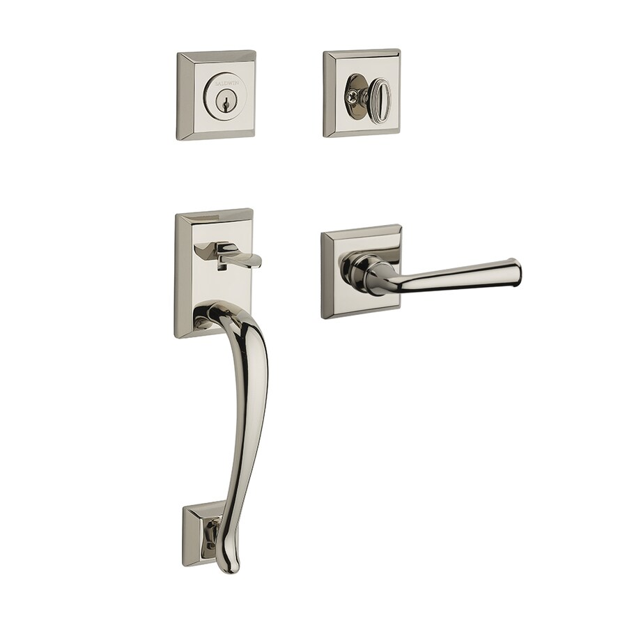 BALDWIN Reserve Napa Federal Lever Traditional Polished Nickel Single-Lock Keyed Entry Door Handleset