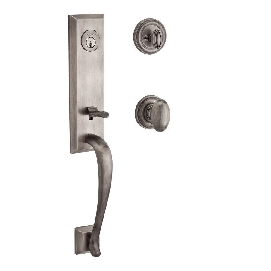 BALDWIN Reserve Del Mar Ellipse Knob Traditional Matte Antique Nickel Single-Lock Keyed Entry Door Handleset