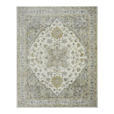 Brookford Ivory Soft Green Rectangular Indoor Handcrafted Oriental Area Rug Common 8 X 10 Actual Ft W L