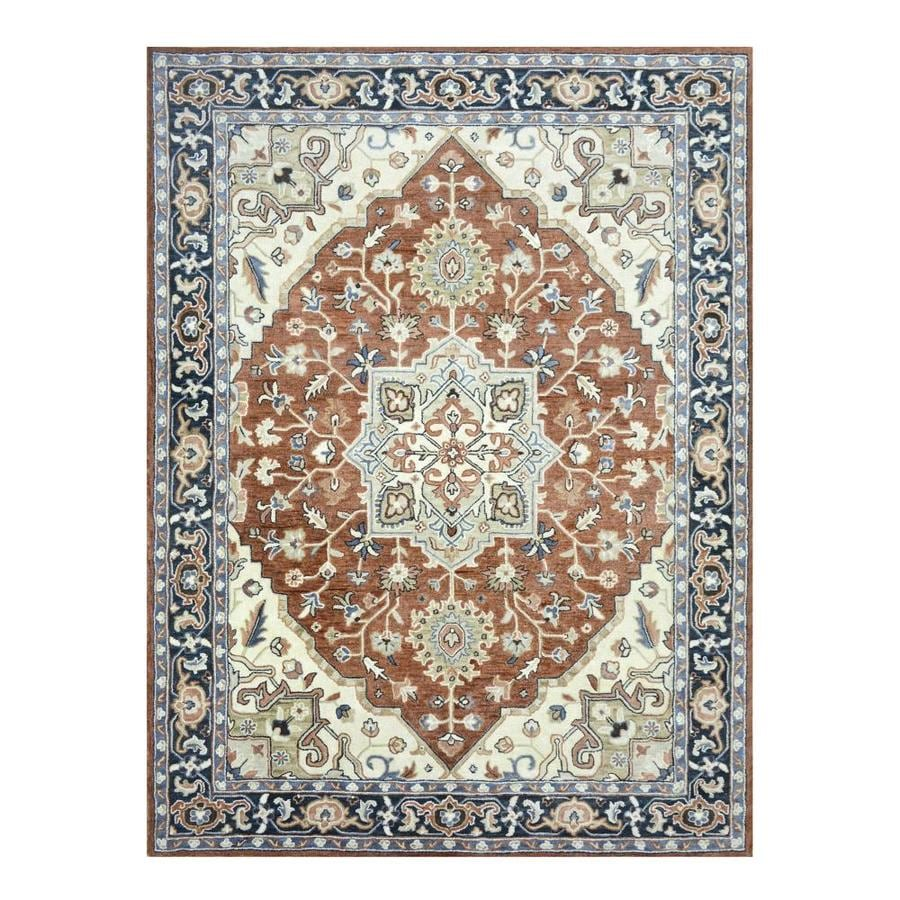 Allen Roth Brookford Rust Blue Indoor Handcrafted Area Rug Common 9 X