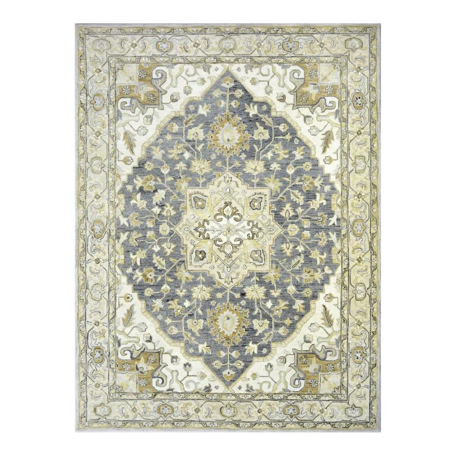 Allen Roth Brookford Charcoal Ivory Indoor Handcrafted Area Rug Common 9 X