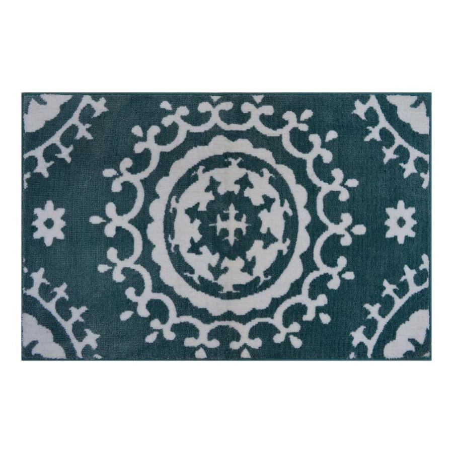 Allen + Roth Teal-Ivory Indoor Novelty Throw Rug (Common