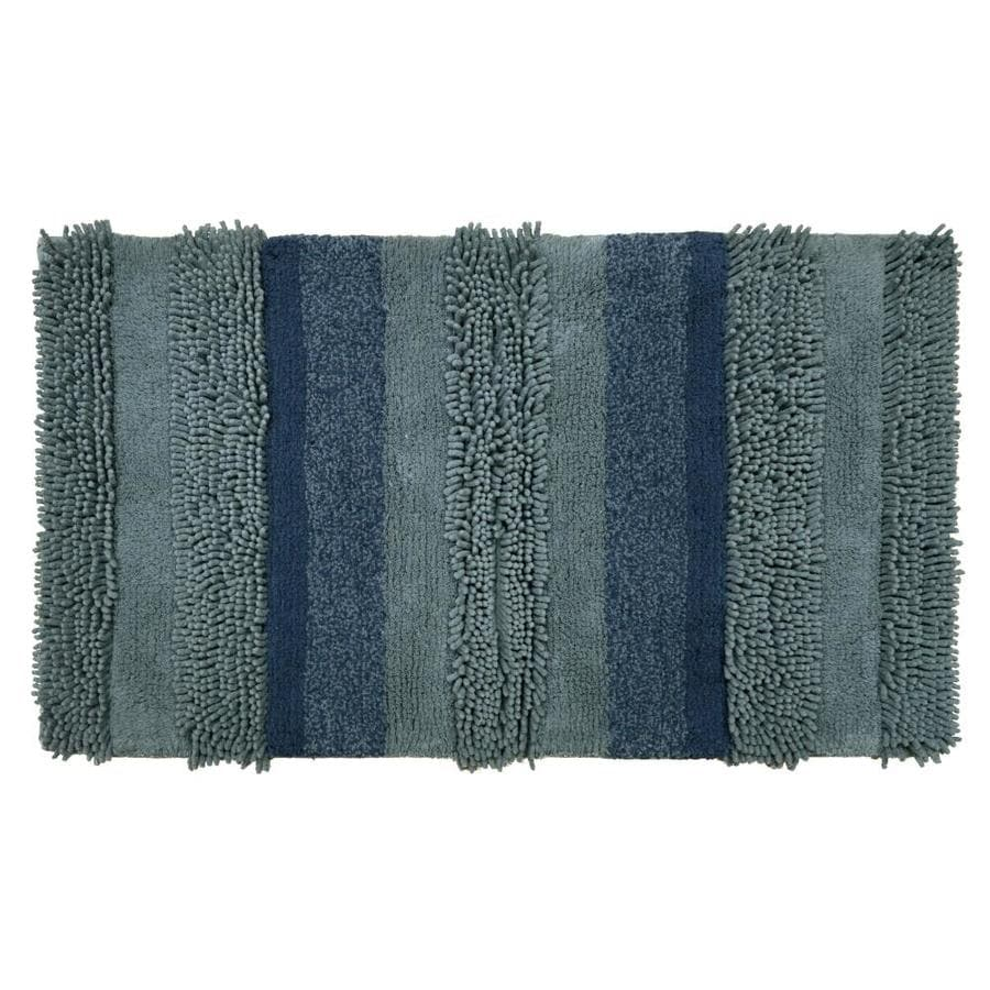 Allen Roth 34 In X 20 In Blue Cotton Bath Rug At Lowes Com