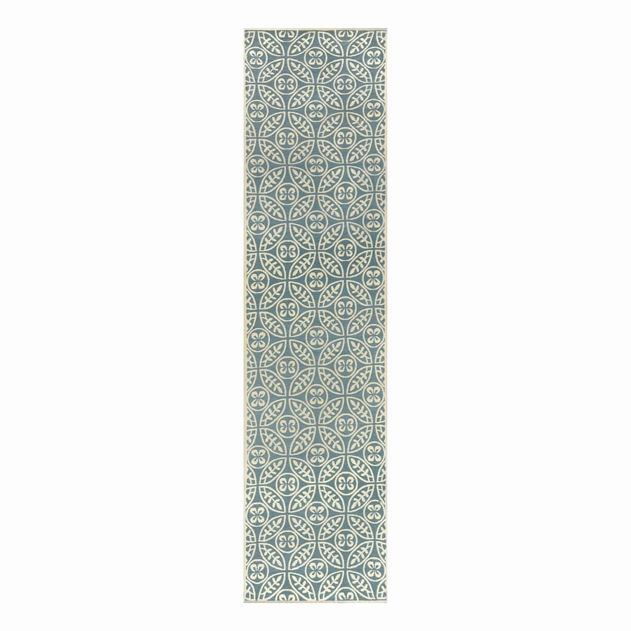 allen + roth Blue Rectangular Indoor Woven Runner (Common: 2 x 8; Actual: 2-ft W x 8-ft L)