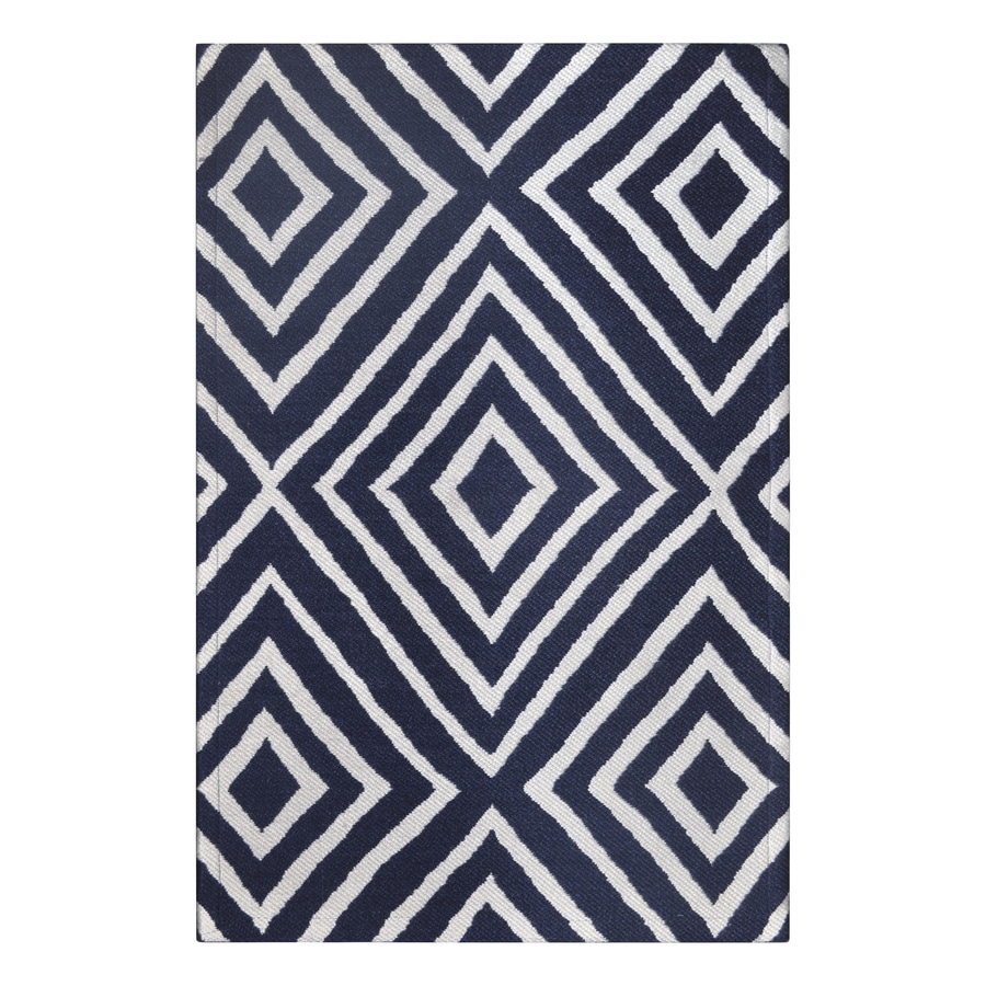 allen + roth Blue Rectangular Indoor/Outdoor Machine-Made Throw Rug (Common: 2 x 3; Actual: 2-ft W x 3-ft L)