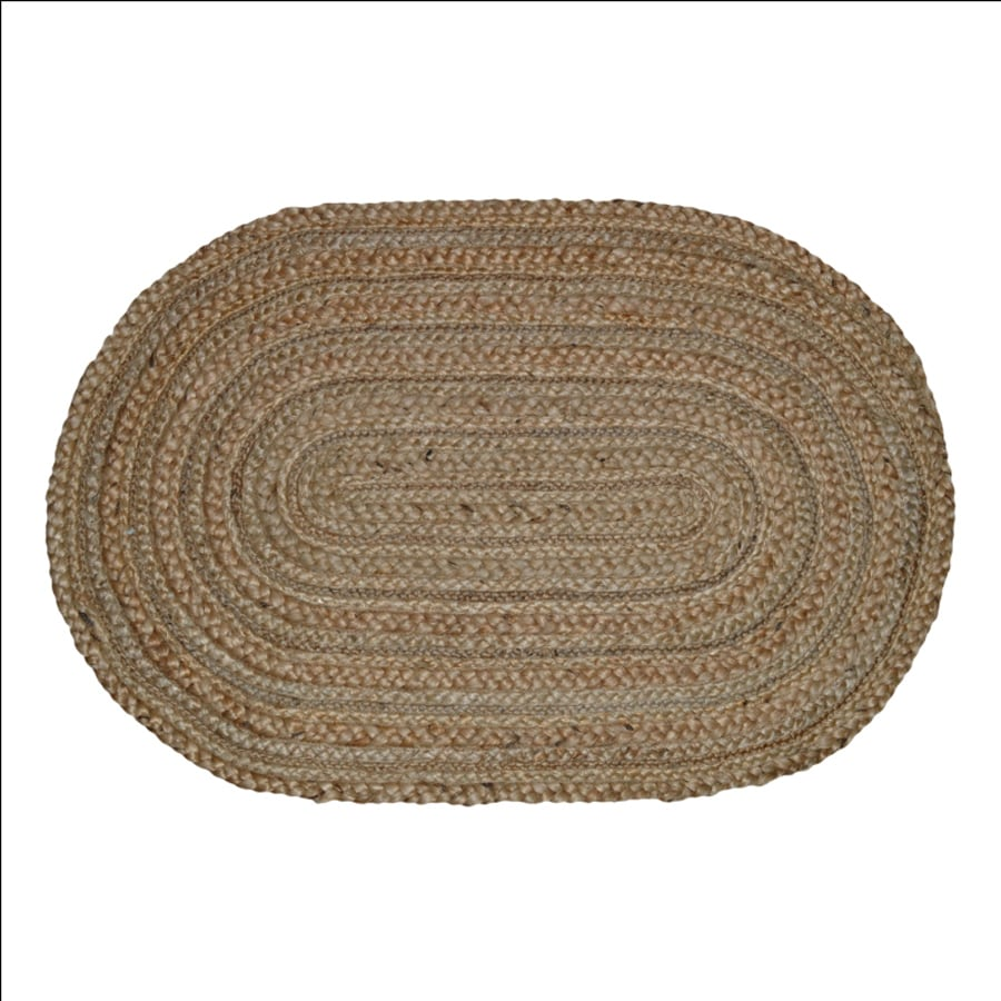 Style Selections Natural Oval Indoor Braided Throw Rug (Common: 2 x 3; Actual: 2-ft W x 3-ft L)