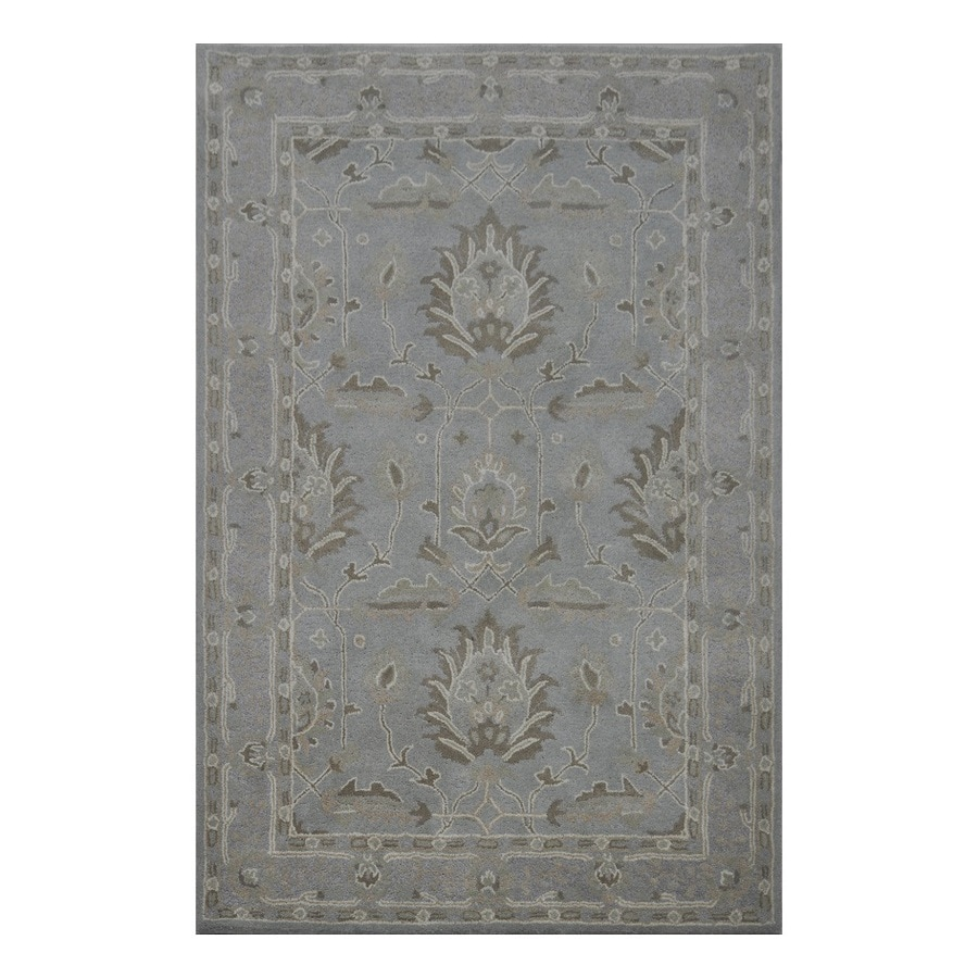 Allen + Roth Southminster Grey Rectangular Indoor Handcrafted Area Rug  (Common: 9 X 12