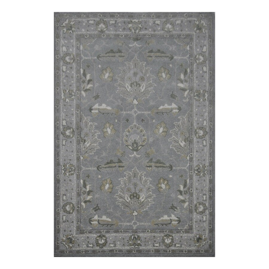 allen + roth Southminster Soft Blue Rectangular Indoor Hand-Hooked Area Rug (Common: 8 x 10; Actual: 96-in W x 120-in L)