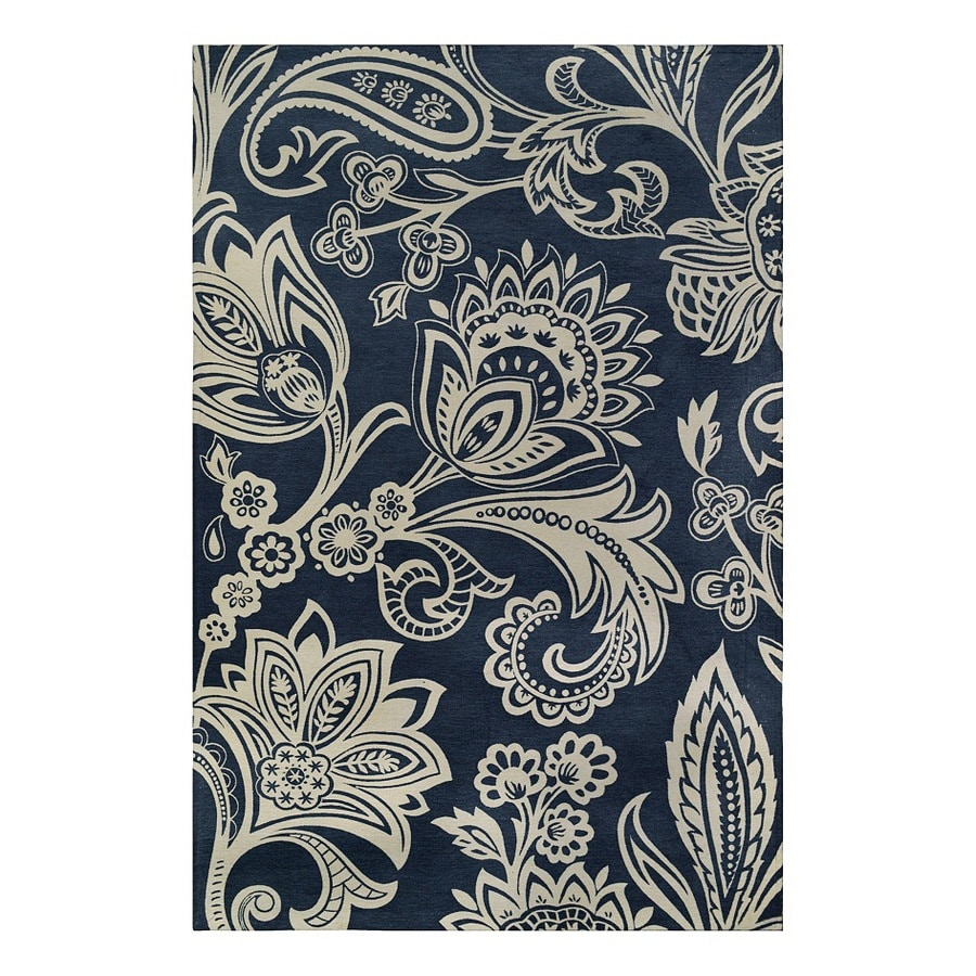 allen + roth Ellesmore Dusty Indigo Rectangular Indoor Woven Area Rug (Common: 5 x 8; Actual: 5-ft W x 7.5-ft L)