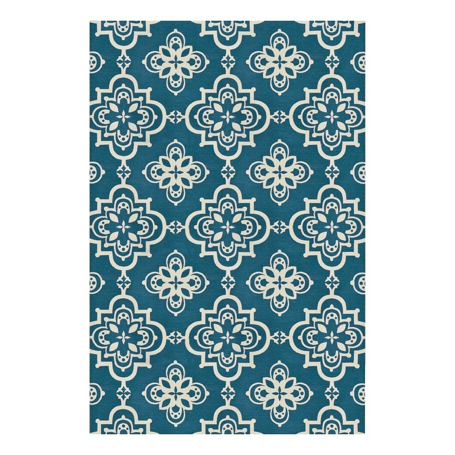 allen + roth Gaines Dark Turquoise Rectangular Indoor Woven Area Rug (Common: 5 x 8; Actual: 5-ft W x 7.5-ft L)