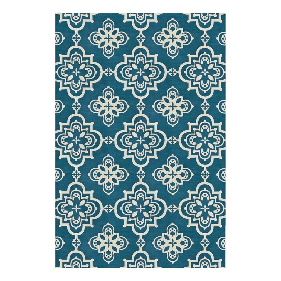 allen + roth Gaines Dark Turquoise Rectangular Indoor Woven Area Rug (Common: 8 x 10; Actual: 8-ft W x 10-ft L)