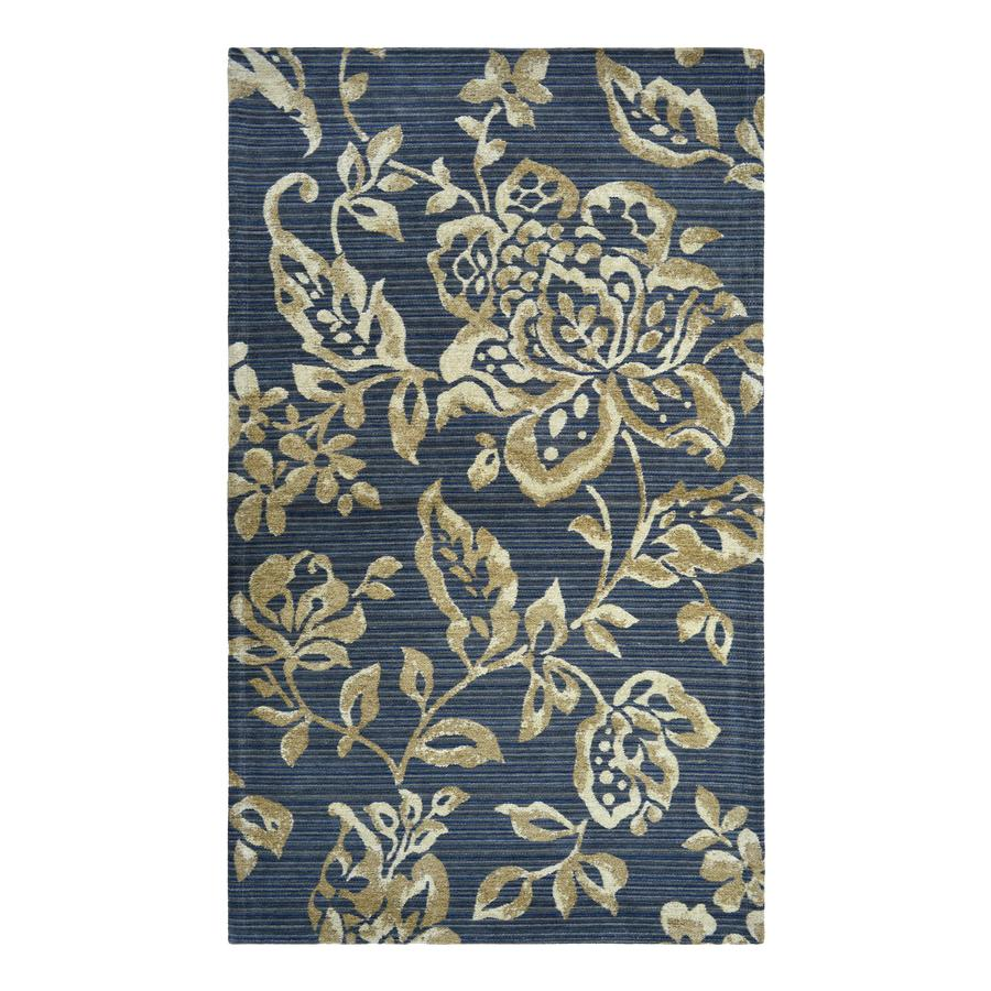 allen + roth Blue Khaki Flower Rectangular Indoor Machine-Made Throw Rug (Common: 2 x 4; Actual: 2.25-ft W x 3.75-ft L)