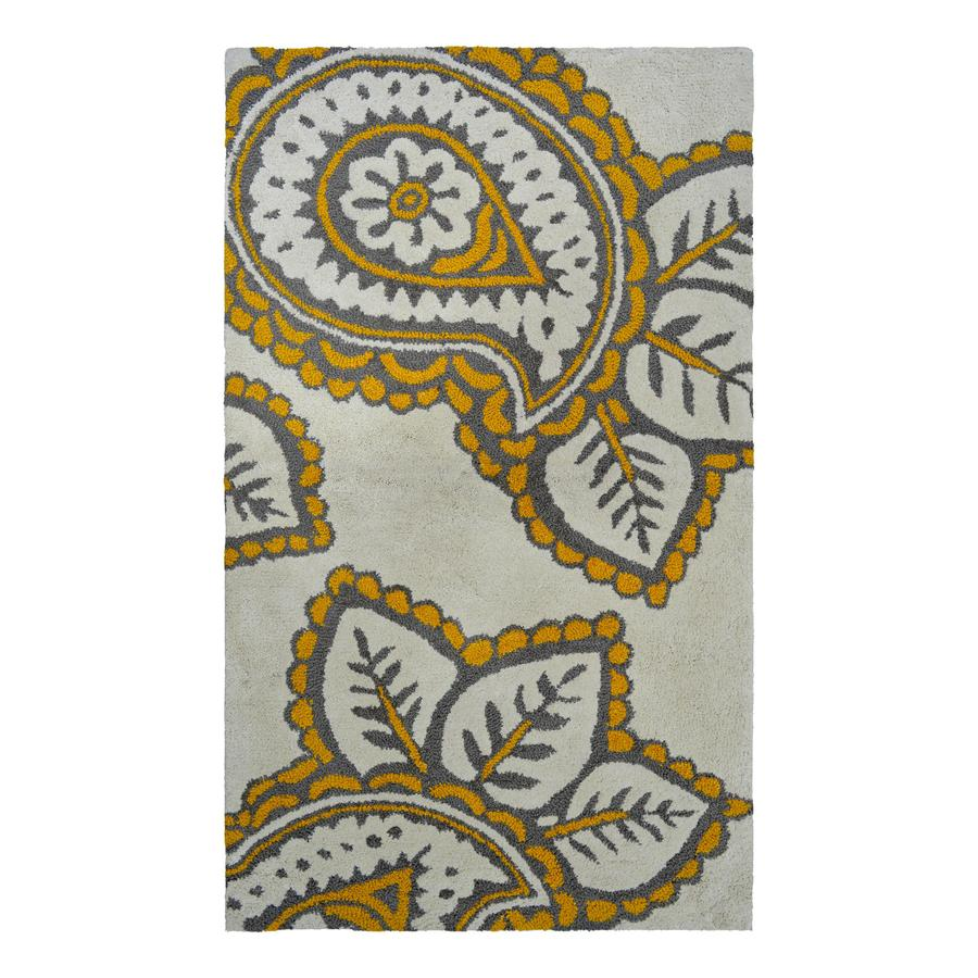allen + roth Yellow and Grey Paisley Rectangular Indoor Tufted Throw Rug (Common: 2 x 4; Actual: 27-in W x 45-in L)