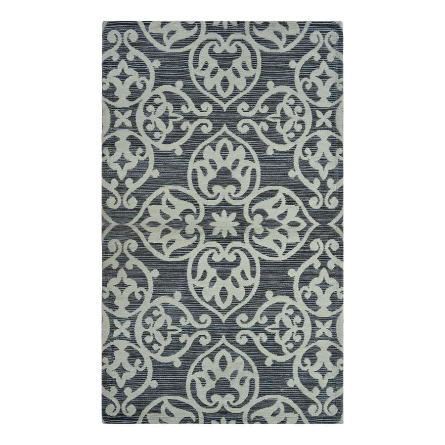 Lovely Allen + Roth Grey Medallion Rectangular Indoor Machine Made Throw Rug  (Common: 2