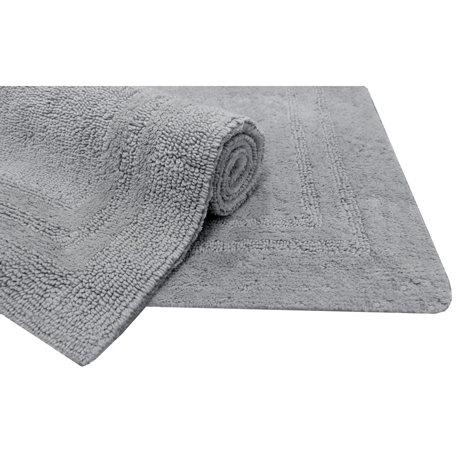 shop allen roth 34 in x 20 in light gray cotton bath mat at