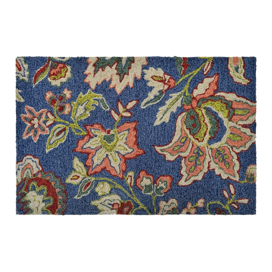allen + roth Blue Rectangular Indoor/Outdoor Tufted Nature Throw Rug (Common: 2 x 3; Actual: 2-ft W x 3.33-ft L)