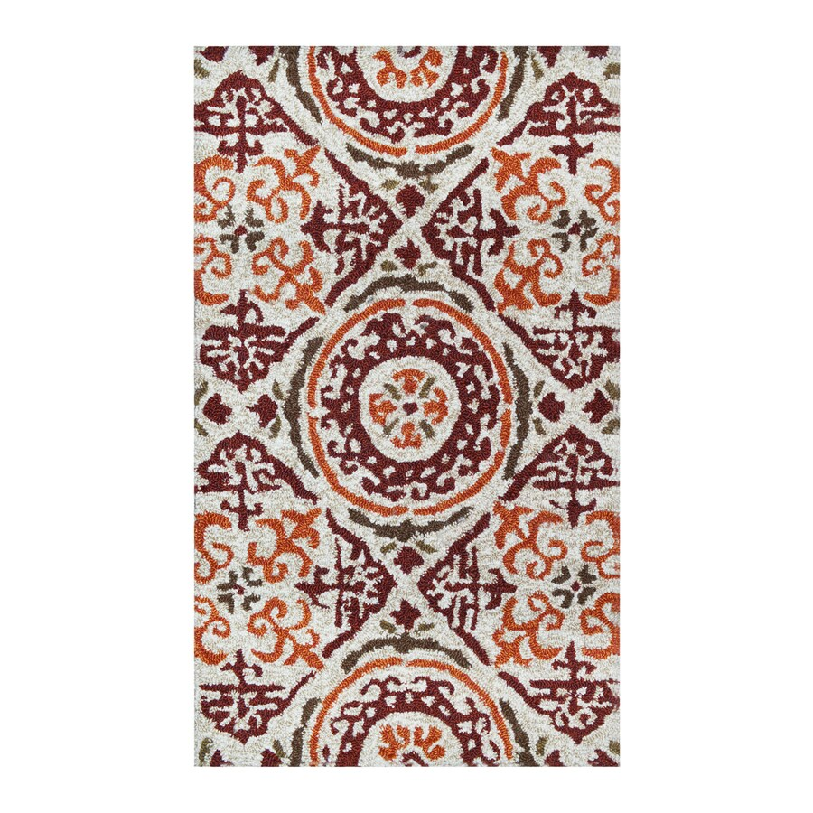 allen + roth Bristol Red-Oyster Rectangular Indoor/Outdoor Tufted Throw Rug (Common: 2 x 3; Actual: 2-ft W x 3.33-ft L)