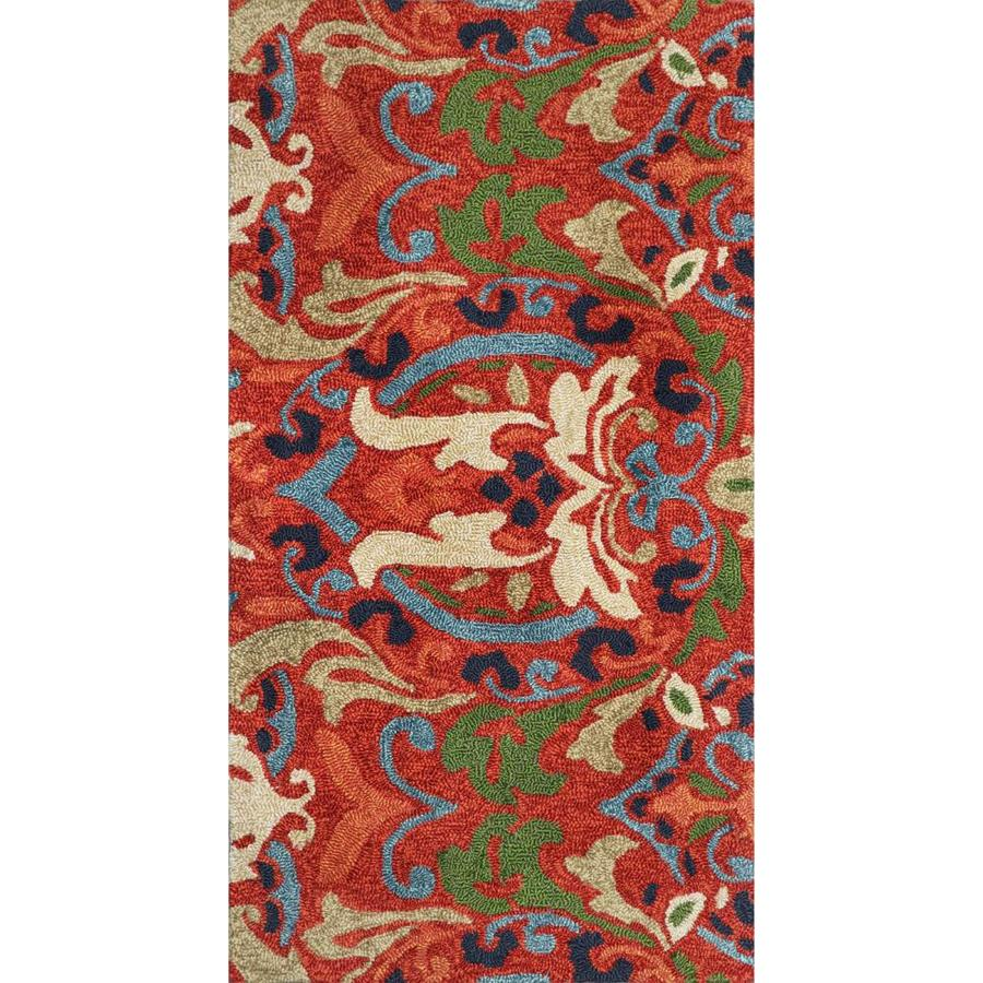 allen + roth Bredina Pembroke Deep Red - Multi Rectangular Indoor/Outdoor Handcrafted Novelty Throw Rug (Common: 2 x 4; Actual: 2-ft W x 4-ft L)