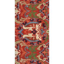 Allen + Roth Bredina Pembroke Deep Red   Multi Rectangular Indoor/Outdoor  Handcrafted Novelty Area