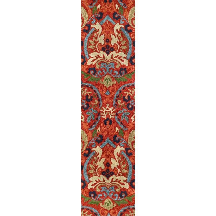 allen + roth Bredina Pembroke deep red- multi Rectangular Indoor/Outdoor Handcrafted Novelty Runner (Common: 2 x 8; Actual: 2-ft W x 8-ft L)