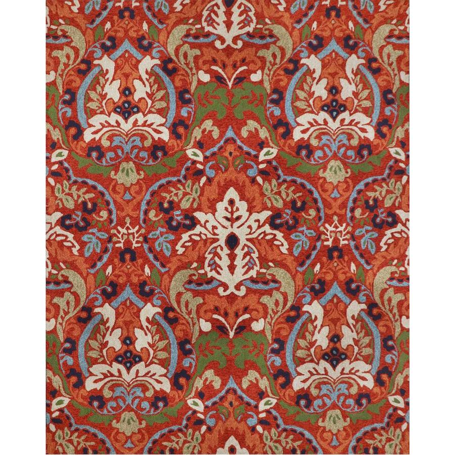 allen + roth Bredina Pembroke Deep Red - Multi Rectangular Indoor/Outdoor Handcrafted Novelty Area Rug (Common: 8 x 10; Actual: 8-ft W x 10-ft L)