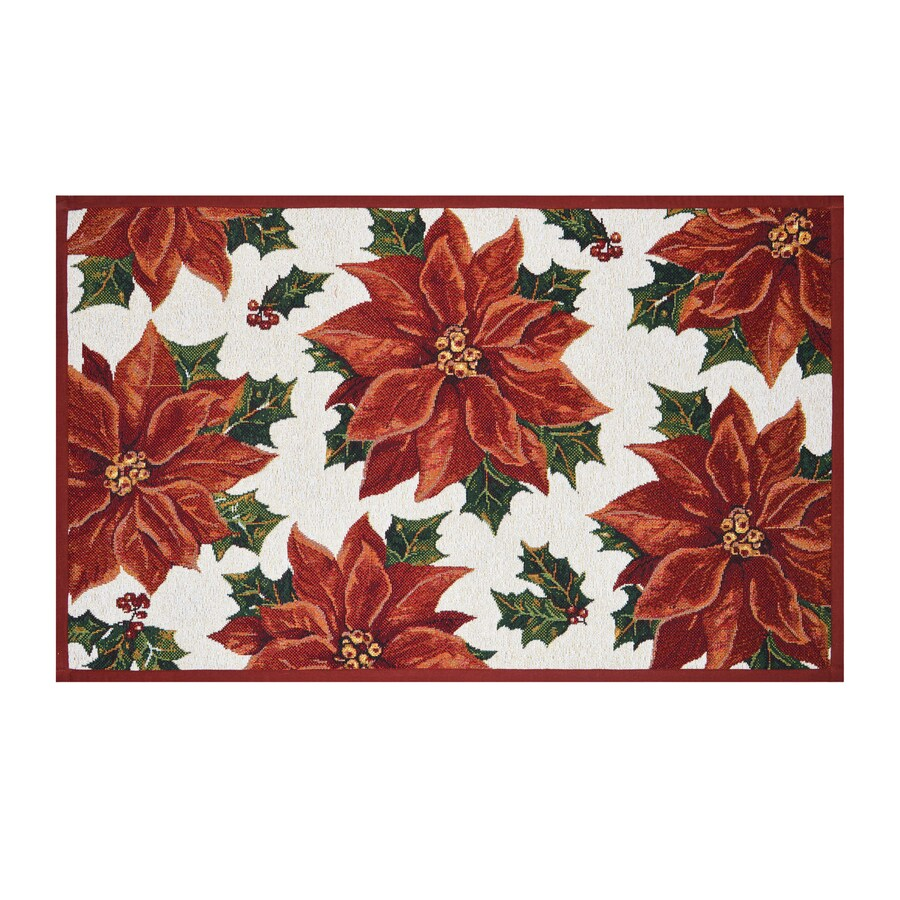 Holiday Living Red Rectangular Indoor Machine-Made Holiday Throw Rug (Common: 2 x 3; Actual: 1.75-ft W x 2.83-ft L)