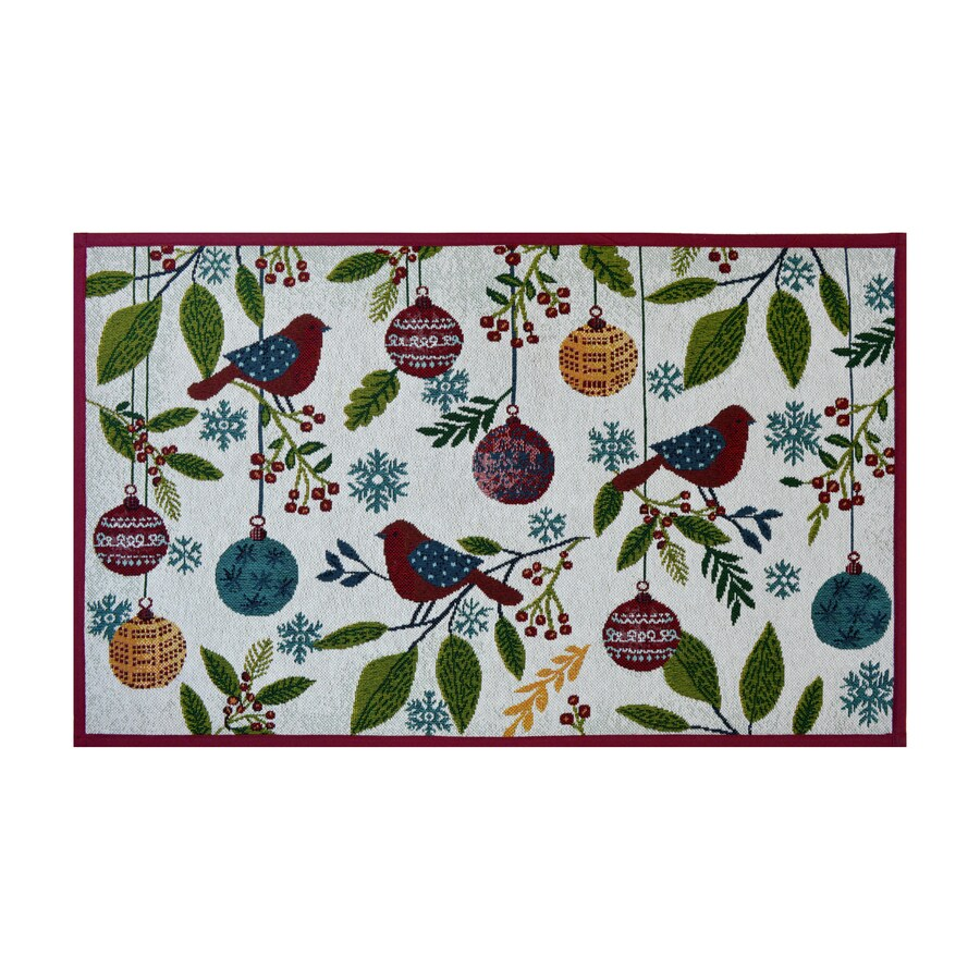 Holiday Living Green Multi Rectangular Indoor Machine-Made Holiday Throw Rug (Common: 2 x 3; Actual: 1.75-ft W x 2.83-ft L)