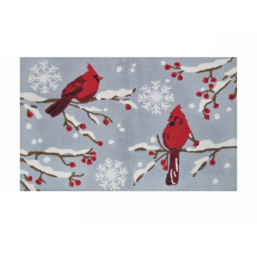 Holiday Living Grey Red Rectangular Indoor Handcrafted Holiday Throw Rug (Common: 2 x 3; Actual: 2-ft W x 3-ft L)