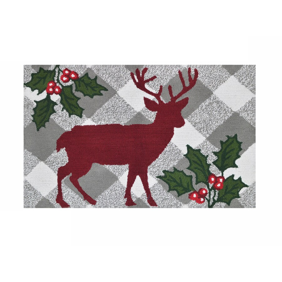 Holiday Living Red Grey Rectangular Indoor Handcrafted Holiday Throw Rug (Common: 2 x 3; Actual: 2-ft W x 3-ft L)