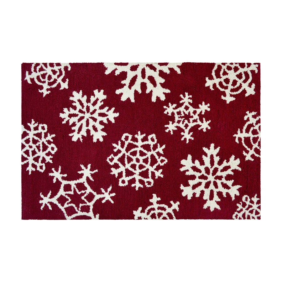 Holiday Living Red Rectangular Indoor Handcrafted Holiday Throw Rug (Common: 2 x 3; Actual: 2-ft W x 3-ft L)