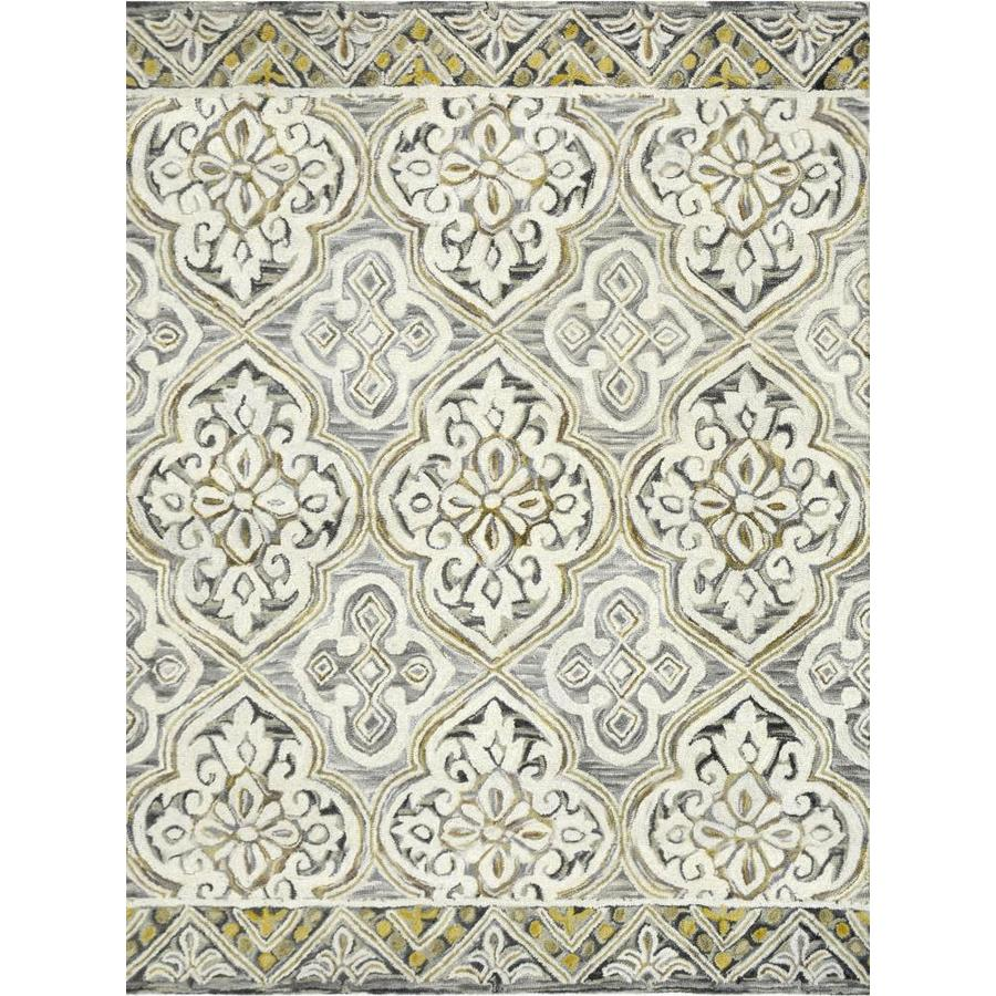 allen + roth Wool Hand Tufted Carpet Catley Mojave Gray/Charcoal 9 x 12 Ft.